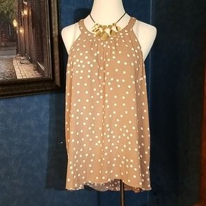 Torrid Brown Poka Dot Tank Halter Top 2X Long Back